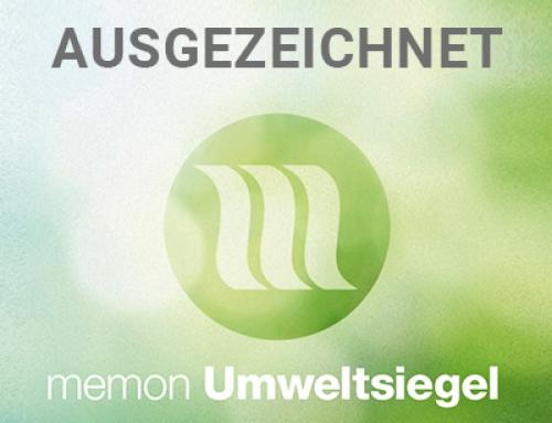 1APflegeMAX wurde mitdem memon-Umweltsiegelausgezeichnet